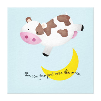 Cow Jumped Over the Moon Stretched Canvas Print