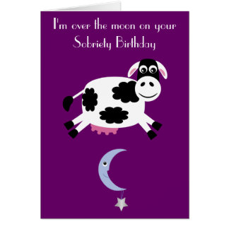 Cow Jumping Over The Moon Custom Purple Sobriety Card