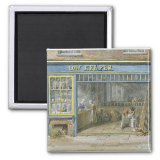 Cow Keeper, 1825 Square Magnet