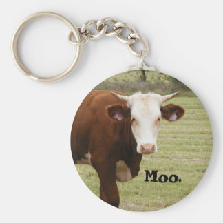 """Cow keychain: """"Moo."""" Basic Round Button Key Ring"""