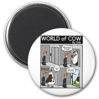 Cow Lift 6 Cm Round Magnet