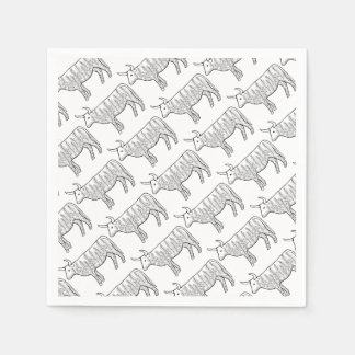 Cow Line Art Design Disposable Napkin