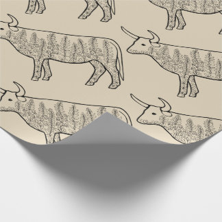 Cow Line Art Design Wrapping Paper