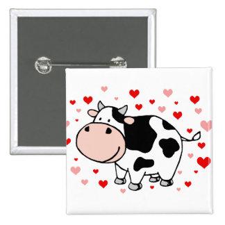 Cow Love 15 Cm Square Badge