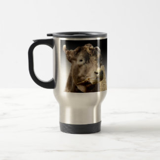 Cow Munching On Hay, Travel Mug