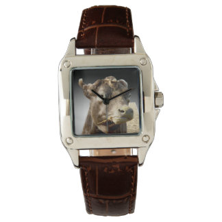 Cow_Munching_Popout_Art_Ladies_Brown_Square_Watch Watch