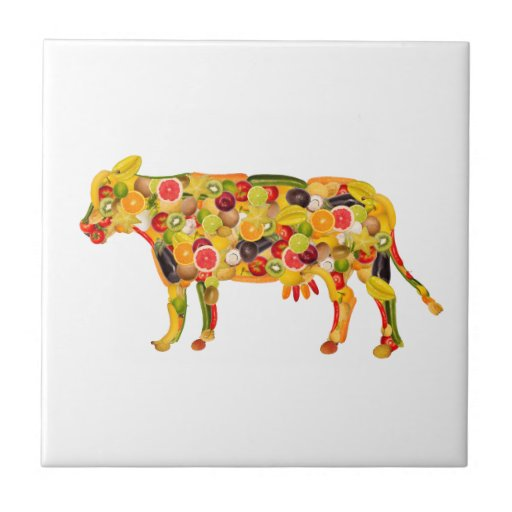 Cow OF fruits and vegetables. ADD your own text! Ceramic Tile