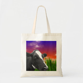 Cow On Grass & Vivid Sunset Sky Canvas Bags