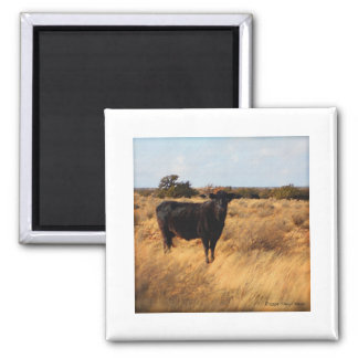 Cow on the Range Square Magnet