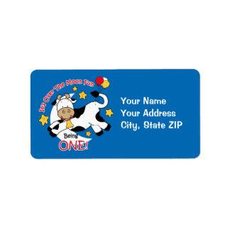 Cow Over Moon 1st Birthday Address Label
