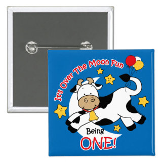 Cow Over Moon 1st Birthday Button