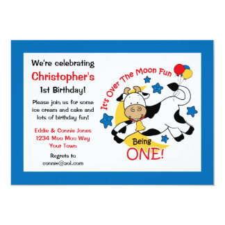 Cow Over Moon 1st Birthday Card