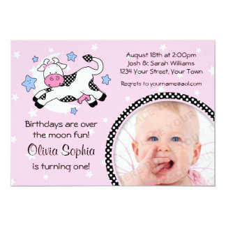 Cow Over Moon Baby Photo Birthday Card