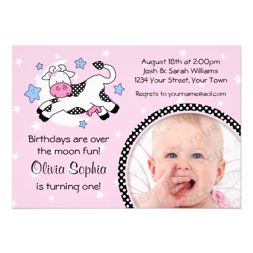 Cow Over Moon Baby Photo Birthday Personalized Invitation