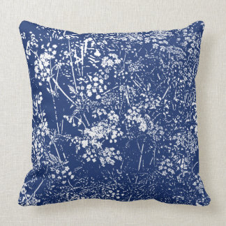 Cow Parsley Cyanotype Style Cushion