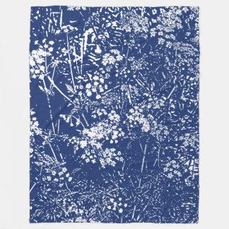 Cow Parsley Cyanotype Style Fleece Blanket