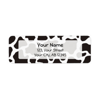 Cow pattern background return address label
