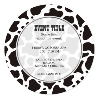 Cow pattern background Round Invitation