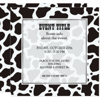 Cow pattern background Square Invitation