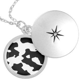 Cow Pattern Black and White Round Locket Necklace