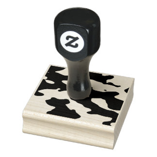 Cow Pattern Black and White Rubber Stamp