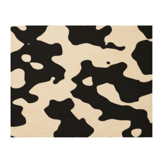 Cow Pattern Black and White Wood Print