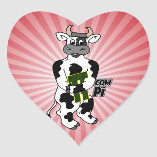 COW Pi 3.14  CELEBRATE Pi DAY Heart Sticker