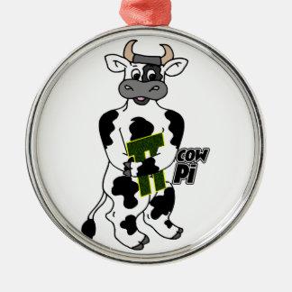 COW Pi 3.14  CELEBRATE Pi DAY Metal Ornament