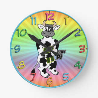 COW Pi 3.14  CELEBRATE Pi DAY Round Clock
