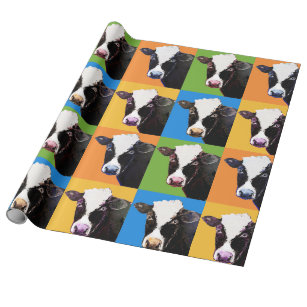 Cow pop art style wrapping paper