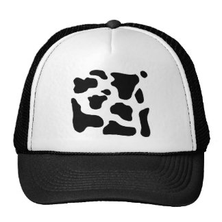 Cow print black and white blotchy pattern hat