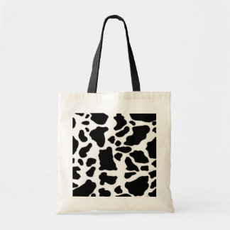 Cow print design, black and white tote bag