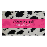 cow print; pink business card templates