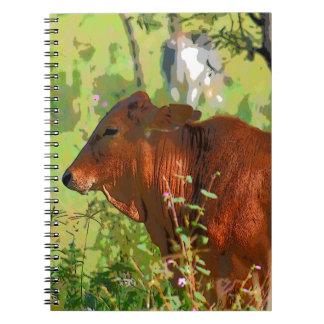 COW QUEENSLAND AUSTRALIA ART SPIRAL NOTEBOOK