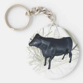 Cow reflecting basic round button key ring
