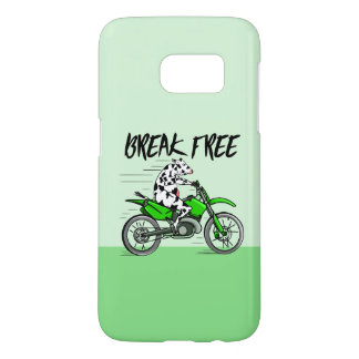 Cow riding a bright green motorbike