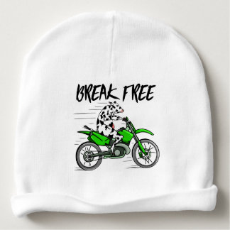 Cow riding a bright green motorcycle baby beanie