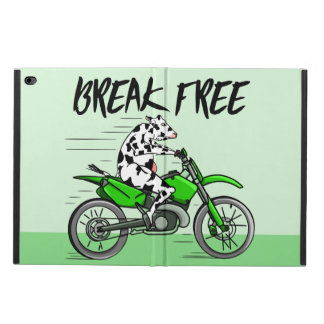 Cow riding a green motor cross bike powis iPad air 2 case