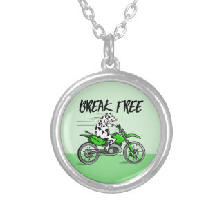 Cow riding a green motor cross bike silver plated necklace