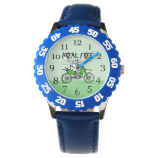 Cow riding a green motor cross bike watch