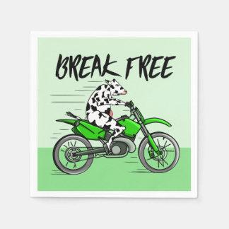 Cow riding A Motorbike Disposable Serviettes