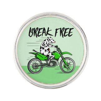 Cow riding A Motorbike Lapel Pin