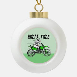 Cow Riding A Motorcyle Ceramic Ball Decoration
