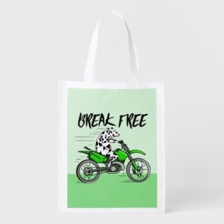 Cow Riding A Motorcyle Reusable Grocery Bag