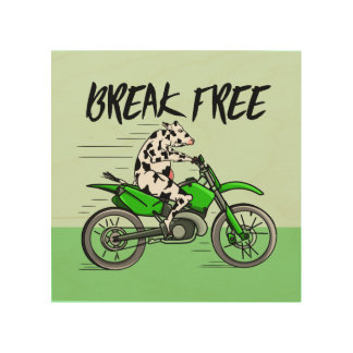 Cow Riding A Motorcyle Wood Wall Art