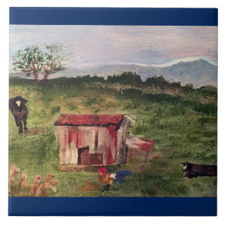 cow, rooster, tobacco barn large square tile