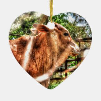 COW RURAL QUEENSLAND AUSTRALIA CERAMIC HEART DECORATION