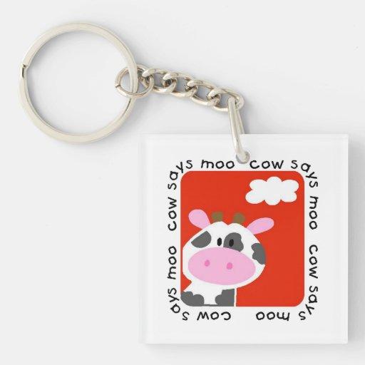 Cow Says Moo Acrylic Keychains