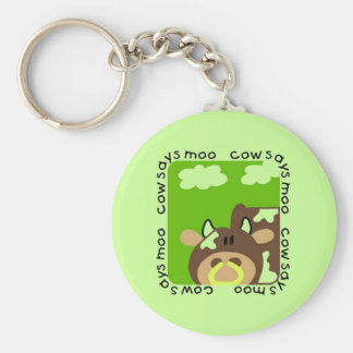Cow Says Moo Tshirts and Gifts Basic Round Button Key Ring