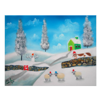 COW SHEEP folk winter SNOW SCENE painting G Bruce Poster